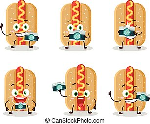 Photographer profession emoticon with hotdog cartoon character