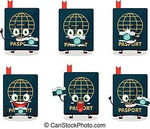 Photographer profession emoticon with passport cartoon character