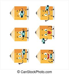 Photographer profession emoticon with pencil cartoon character