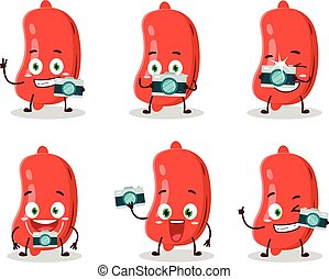 Photographer profession emoticon with sausage cartoon character