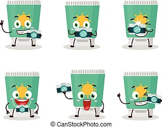 Photographer profession emoticon with sunblock cartoon character