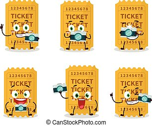 Photographer profession emoticon with ticket cartoon character