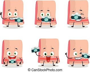 Photographer profession emoticon with towel cartoon character