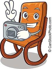 Photographer rocking chair in the cartoon shape