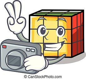 Photographer rubik cube mascot cartoon