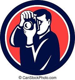Photographer Shooting DSLR Camera Retro