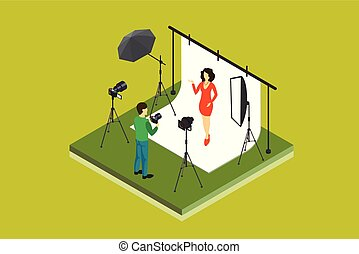 Photographer shooting model in studio. Photo equipment...