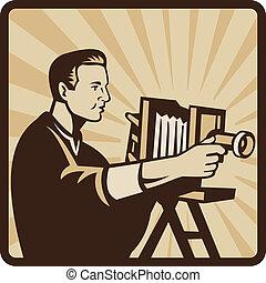 Photographer Shooting Vintage Camera Retro - Illustration of...