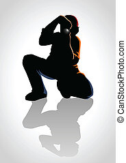 Silhouette illustration of a photographer