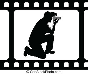 Photographer silhouette in film frame - vector