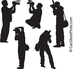 photographer silhouette vector - four photographer stay and ...