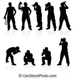 photographer silhouette vector in black color illustration
