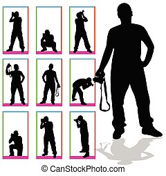 photographer silhouette vector in box