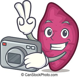 Photographer sweet potato mascot cartoon