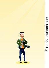 Photographer taking a photo vector illustration. - Cheerful...