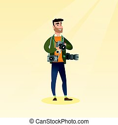 Photographer taking a photo vector illustration. - Cheerful...