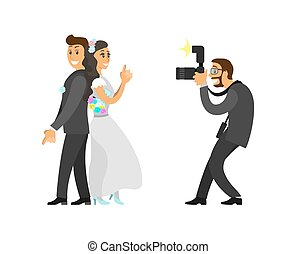 Photographer Taking Photo of Newlywed with Camera -...