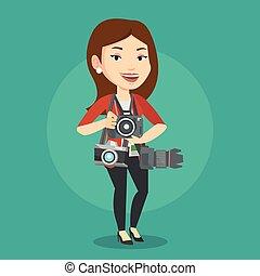 Photographer taking photo vector illustration. - Cheerful...