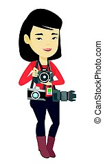 Photographer taking photo vector illustration. - Young asian...