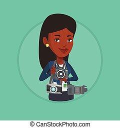 Photographer taking photo vector illustration. - African...