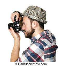 photographer taking photo with retro camera isolated on white background