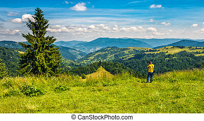 photographer taking summer mountain landscape pictures -...