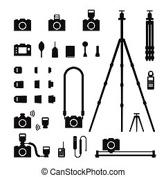 Photographer tool silhouette icon set illustration black and white color isolated on white background