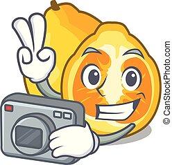 Photographer ugli fruit in the cartoon fridge vector...