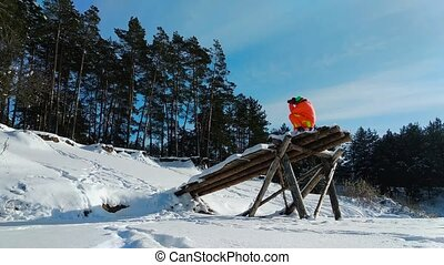 Photographer using a strange wooden construction for...