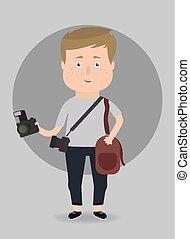 photographer., vecteur, illustration.