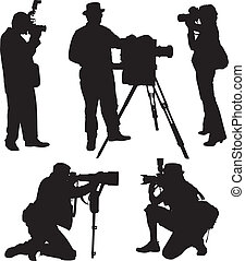 Photographer Silhouette on white background