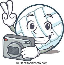 Photographer volley ball character cartoon vector...