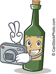 Photographer wine bottle character cartoon