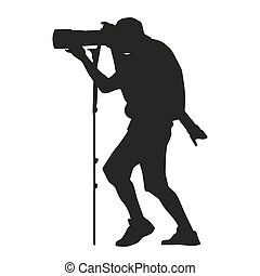 Photographer with a camera on a monopod also with a telephoto lens. Vector silhouette