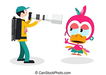 Photographer with Big Lens and Funky Chicken