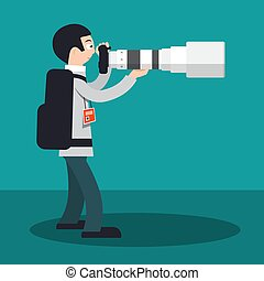 Photographer with Camera and Big Telephoto Lens. Vector Flat Design Cartoon.
