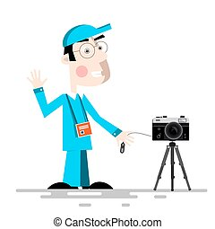 Photographer with Camera on Tripod Vector Cartoon