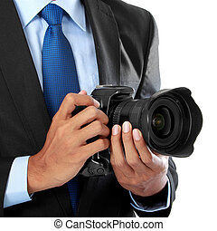 photographer with dslr camera - cropped portrait of...