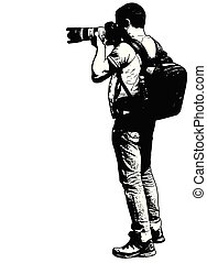photographer with his telephoto lens - sketch illustration - vector