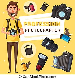 Photographer with photo items and camera
