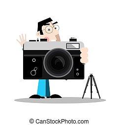 Photographer with Retro Camera