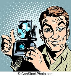 Photographer with retro camera hand gesture all is well
