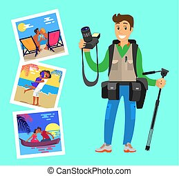 Photographer with Tripod on Background of Pictures