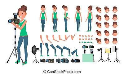 Photographer Woman Vector. Taking Pictures. Animated Female...