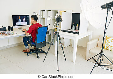 Photographer working on commercial project
