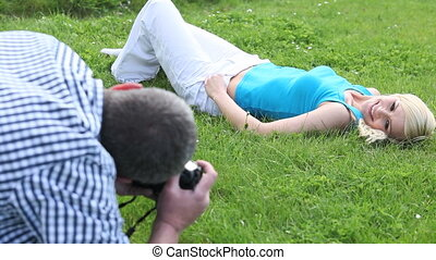 Photographer working with a model