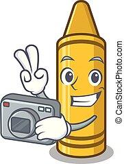 Photographer yellow crayon in the cartoon wallet