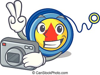 Photographer yoyo mascot cartoon style vector illustration