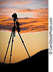 photographer's, カメラ, 上に, 三脚