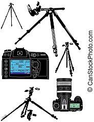 ∥, photographer\'s, 装置, 上に, a, 白い背景